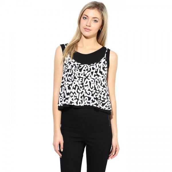 Black & White Printed Top