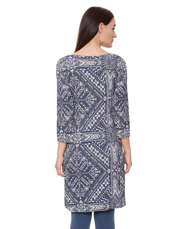Blue And White Printed Tunic