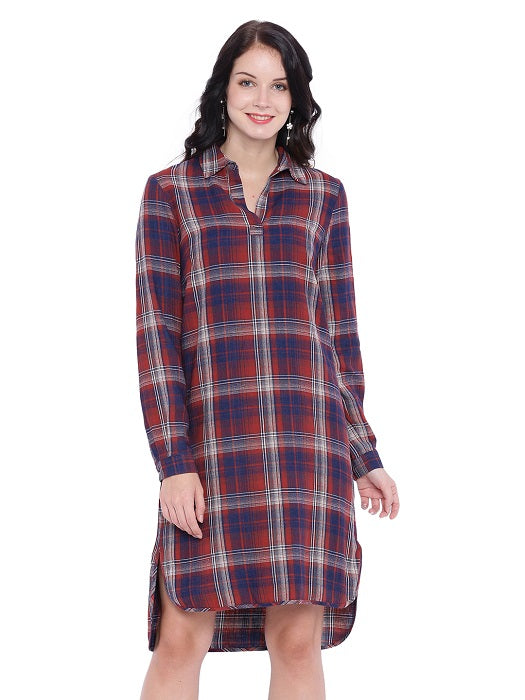 Blue check weave Shirt Dress