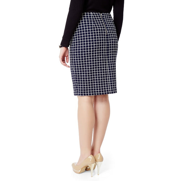 Blue Checked Pencil Skirt
