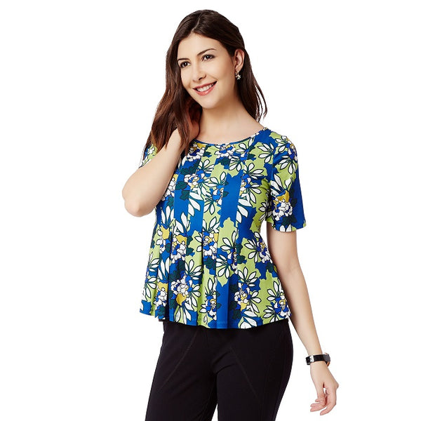 Blue Daisy Print Top