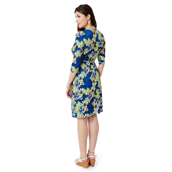 Blue Floral Wrap Dress