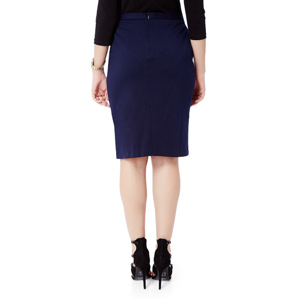 Blue Formal Front Slit Skirt