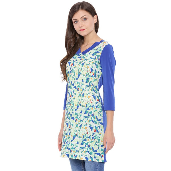 Blue Geometric Printed Tunic