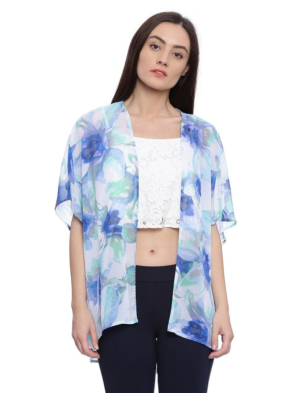 Blue green floral print shrug