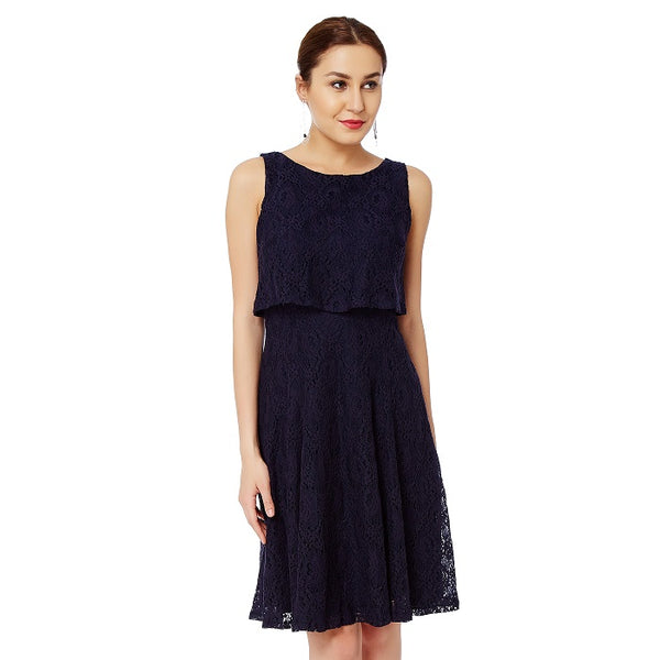 Blue Lace Overlap Dress