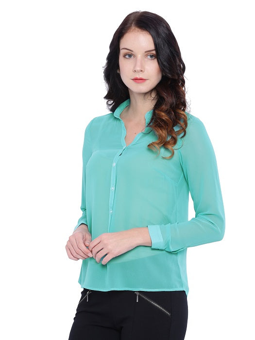 Blue Mandarin Collar Top