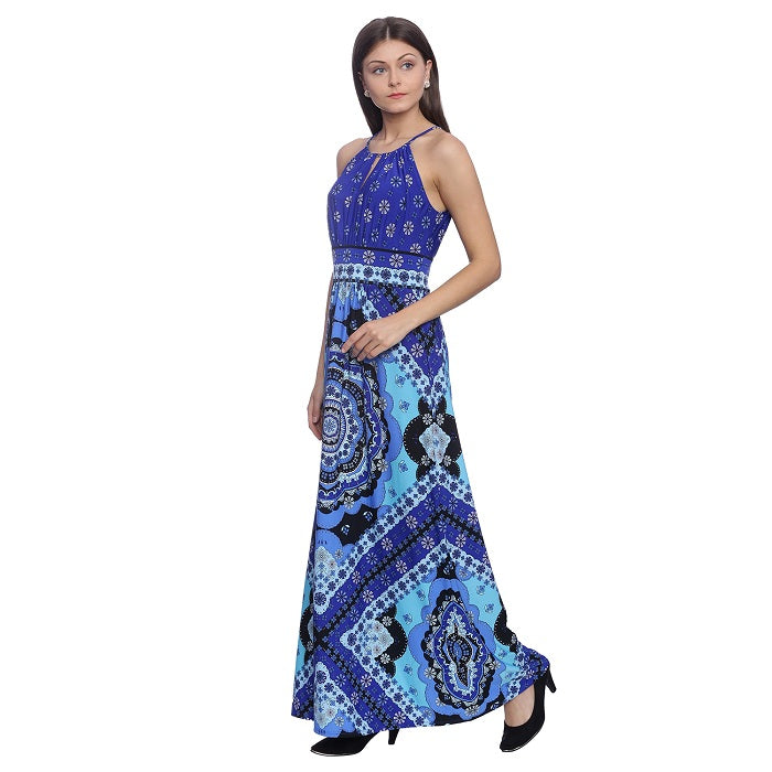 329a677ac0e Buy Blue Printed Maxi Dress Online