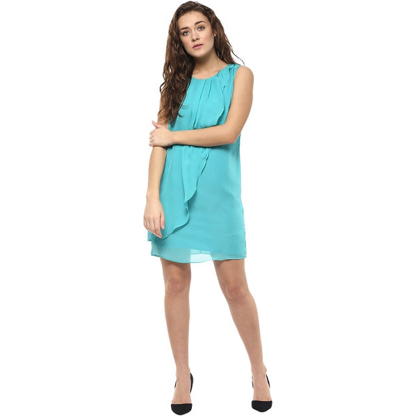Blue Ruffle Shift Dress