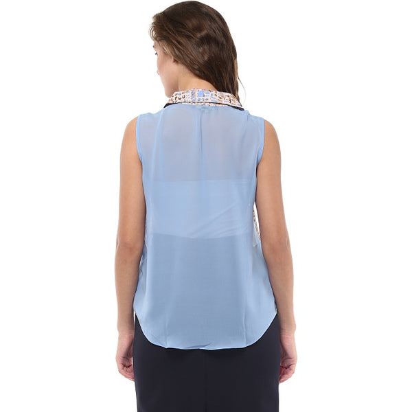 Blue Sleeveless Shirt
