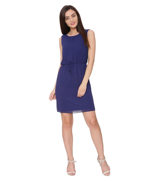 Blue Solid A Line Dress