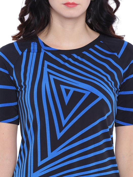 Blue Streak Printed Top