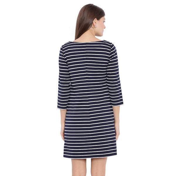 Blue Striped Shift Dress