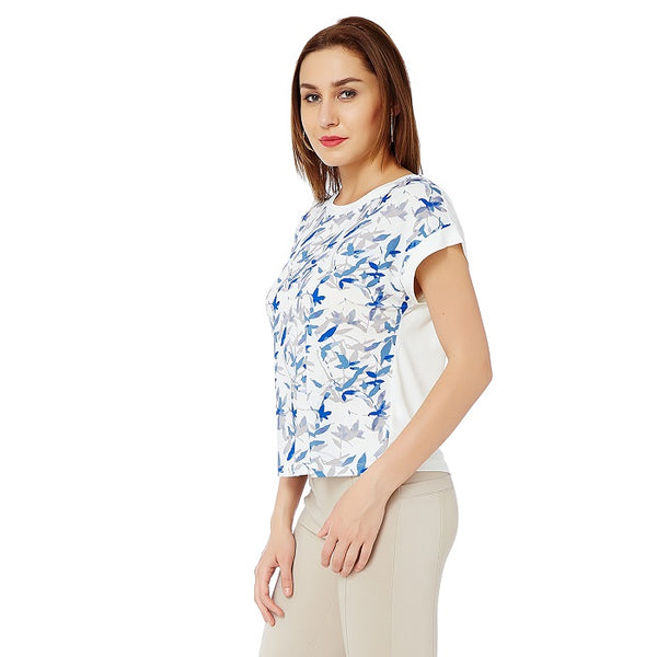 Blue Watercolour Print Top