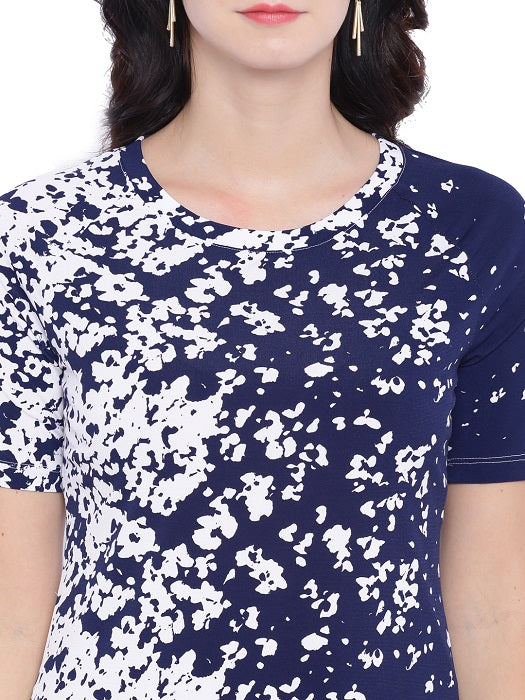 Blue White Floral Top