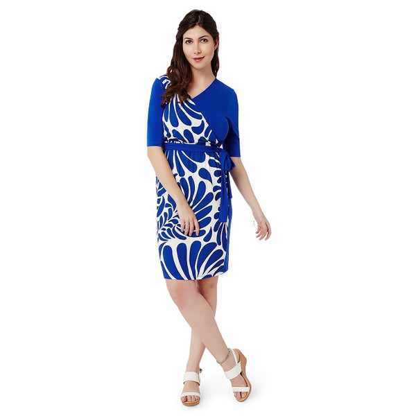 Blue White Wrap Dress