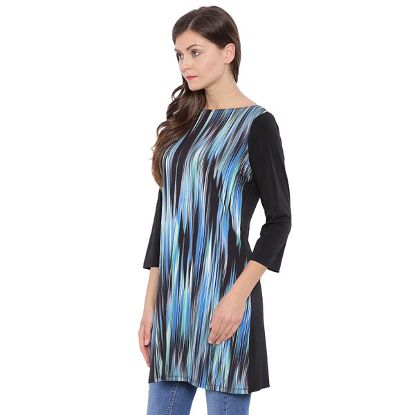 Boat Neck Blue Black Tunic