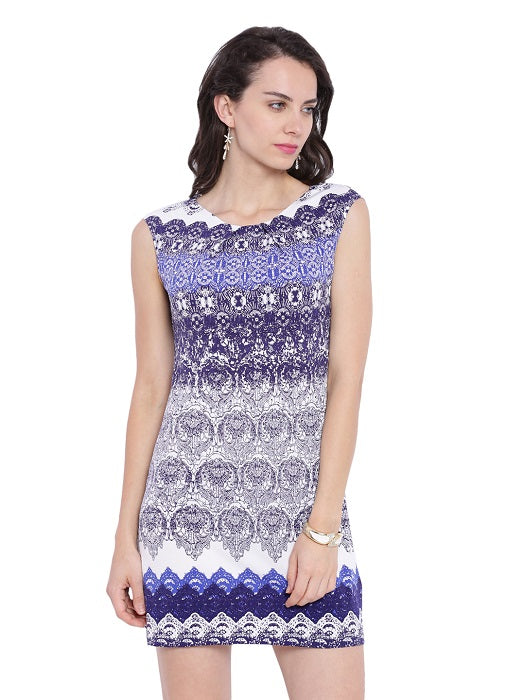Boat Neck Printed Tunic