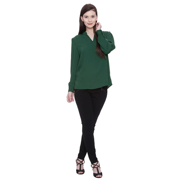 Bottle Green Georgette Top