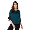 Bottle Green Satin Bell Sleeve Top
