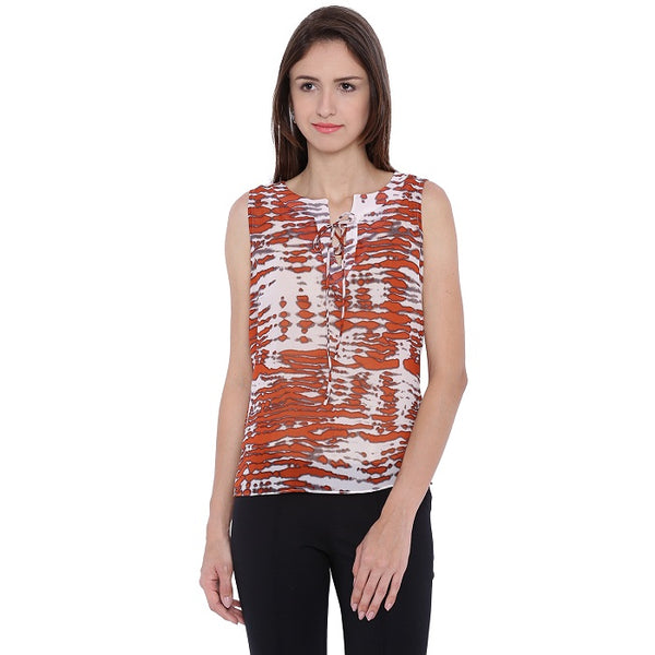 Brown Printed Top