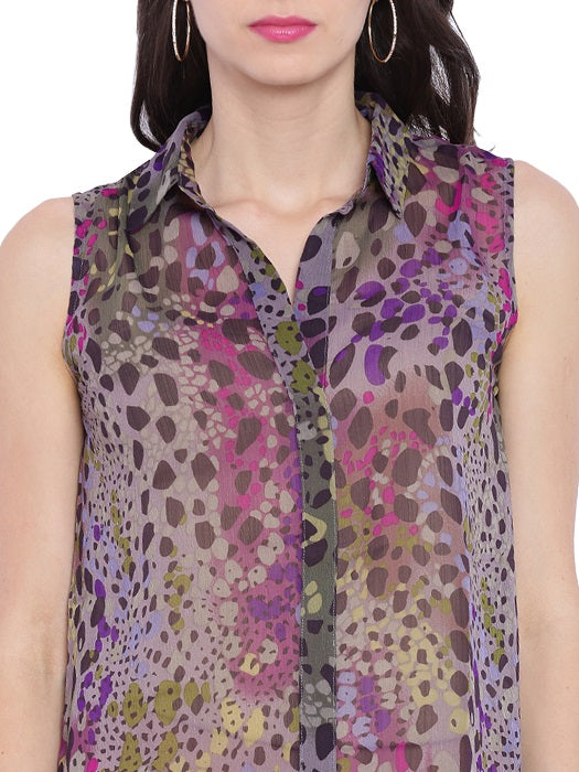 Chiffon Pebble Print Top