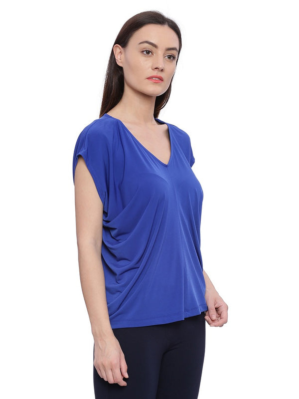 Cobalt blue V neck top