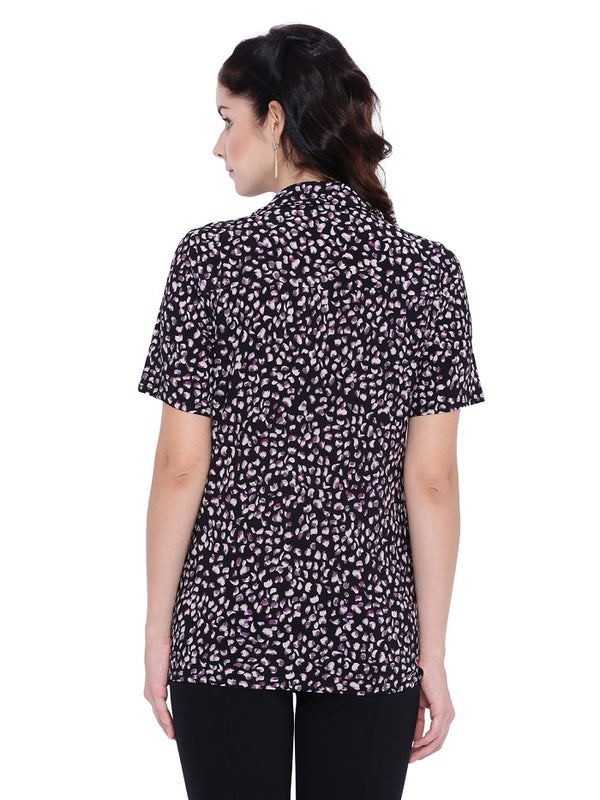Floral Digital Print Black Shirt