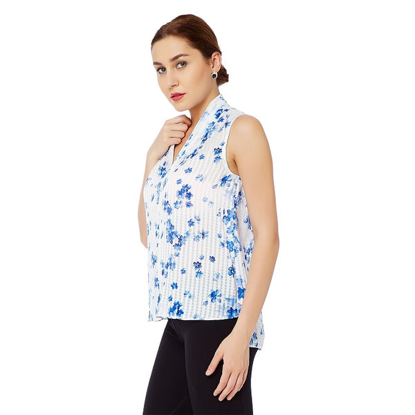 Floral Printed Shawl Collar Top