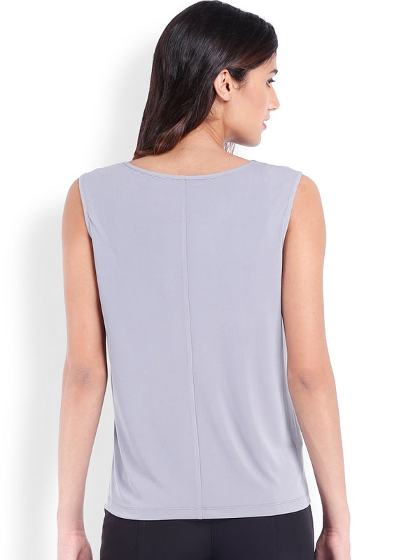 Grey & Blue Sleeveless Top