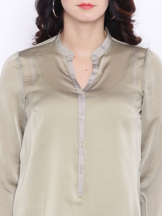 Grey Chiffon Top