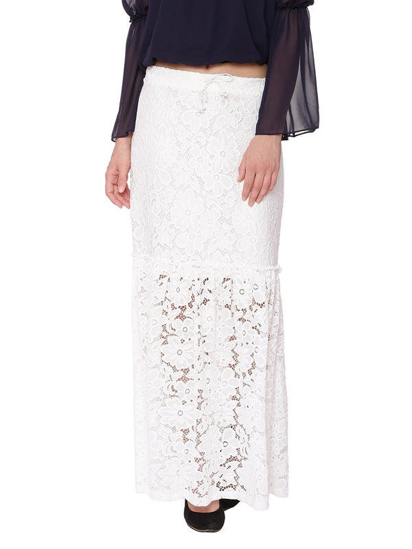 Jules Lace White Maxi Skirt