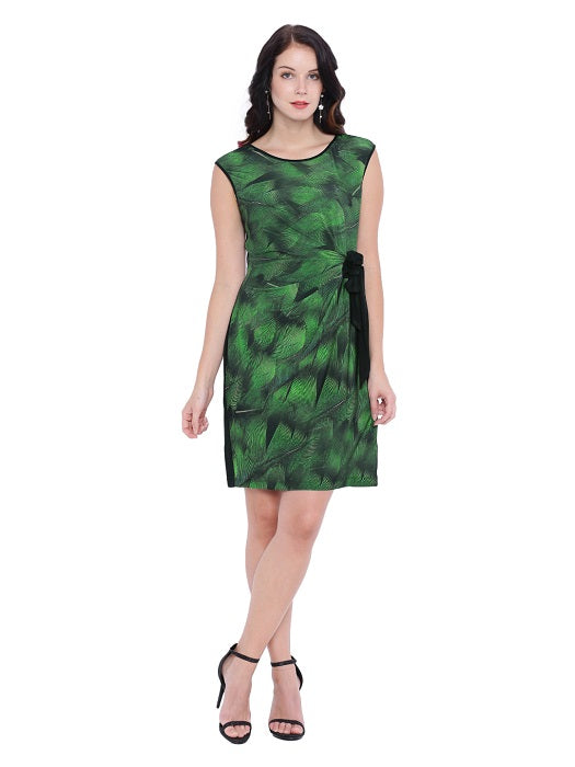Leaf Print Faux Wrap Dress