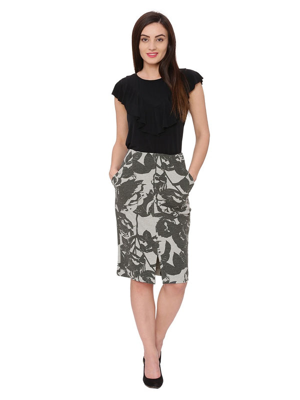 Lily High Waist Grey Pencil Skirt