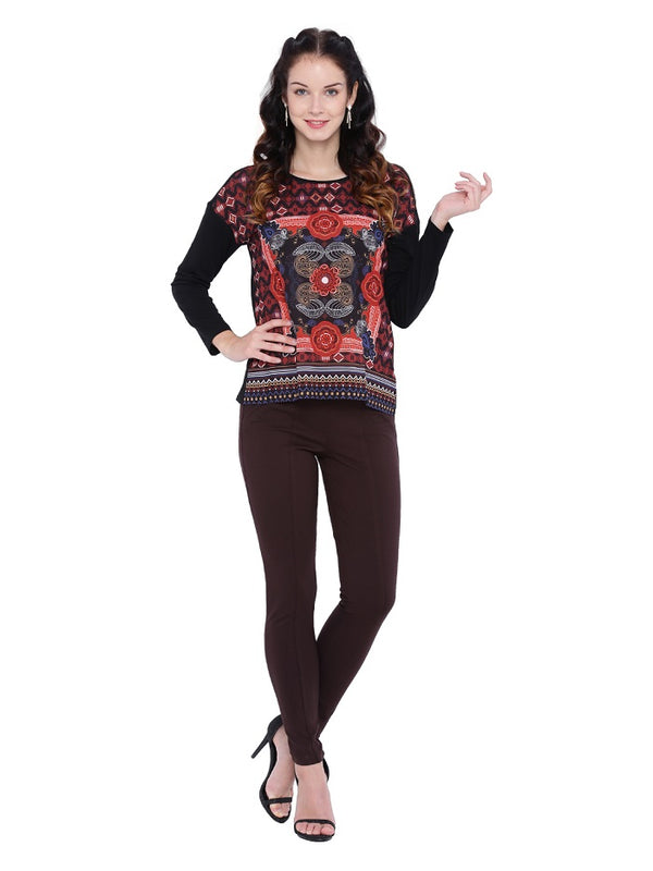 Maroon Digital Print Top