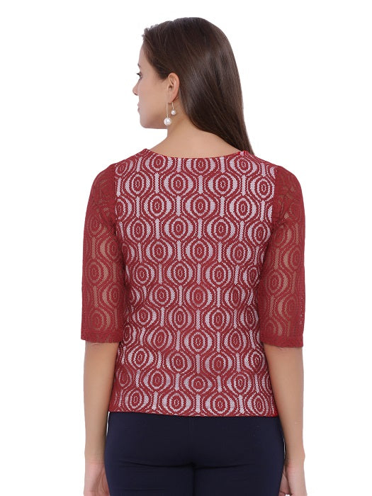 Maroon Scoop Neck Top