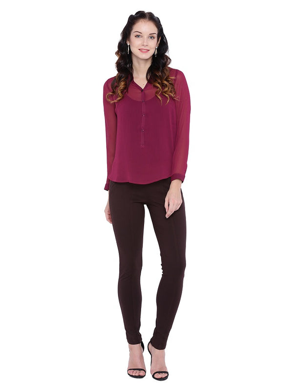 Maroon Sheer Georgette Top