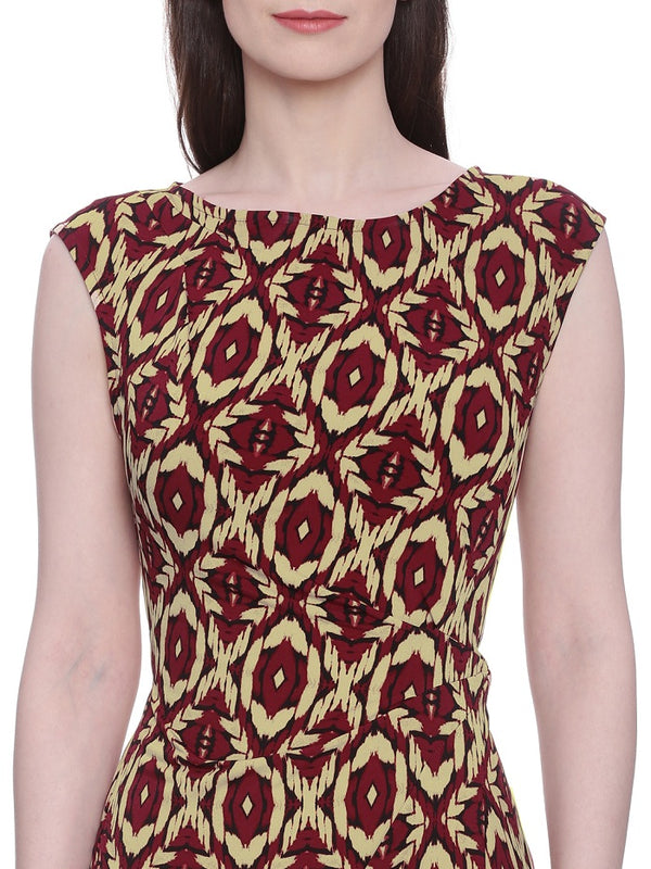 Maroon Yellow Printed Dress