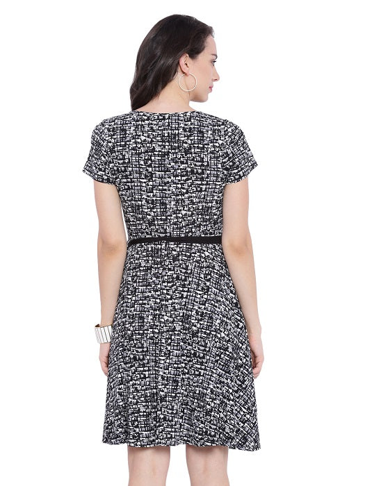 Monochrome A-line Dress