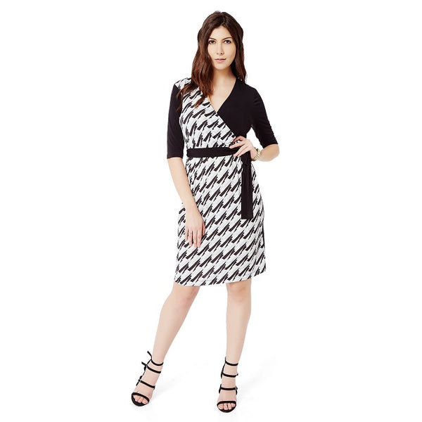 Monochrome Wrap Dress