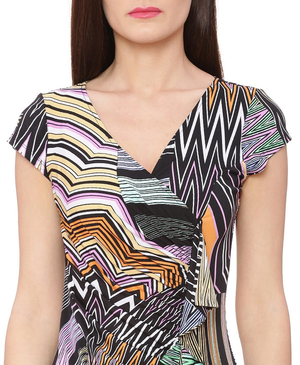 Multi Color Geometric Print Dress