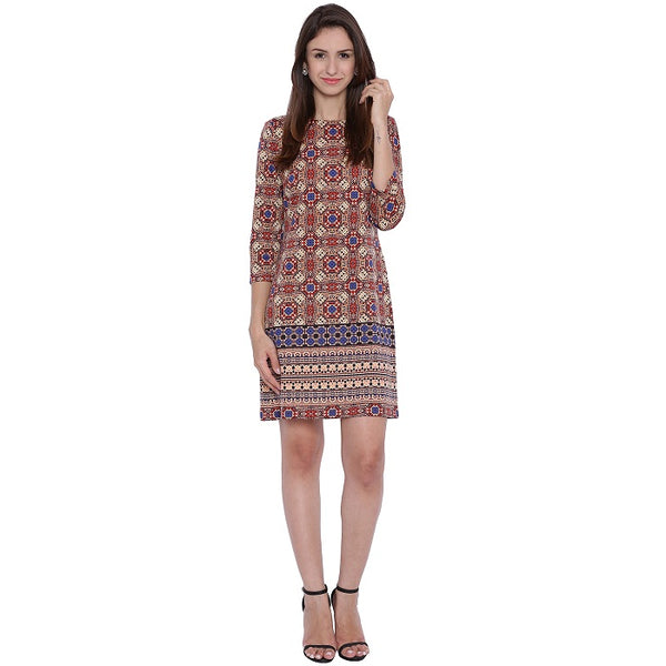 Multicolour Mosaic Printed Dress