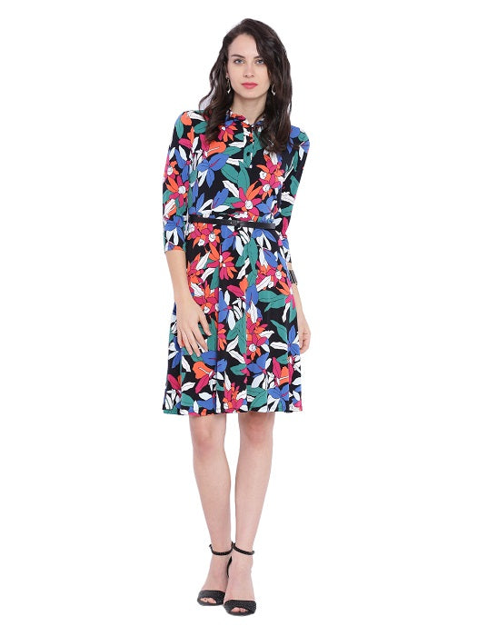 Multicolour Tropical Print Dress