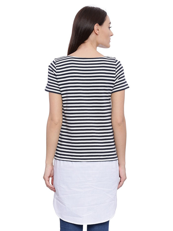 Nautical Navy Blue and White Striped Tunic