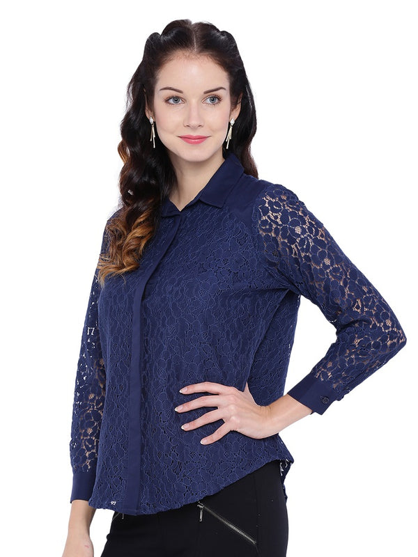 Navy Blue Lace Shirt