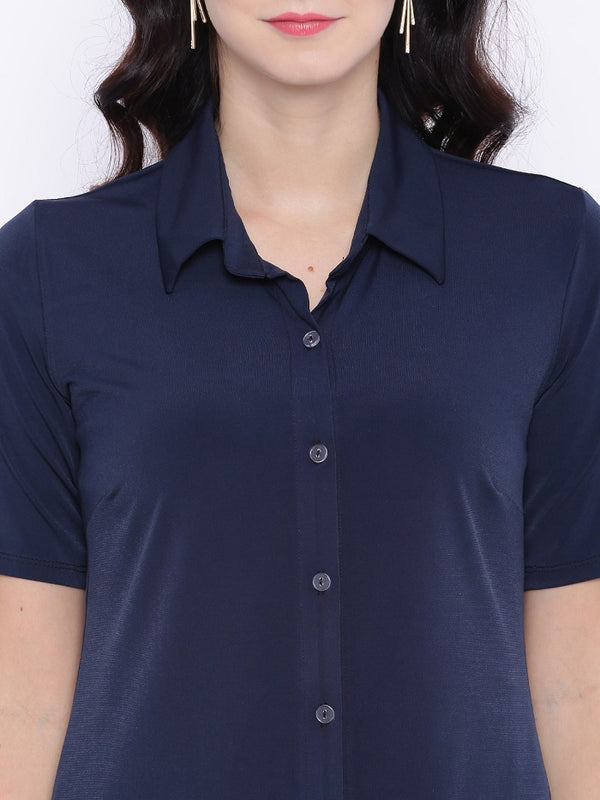 Navy Blue Stretchable Shirt