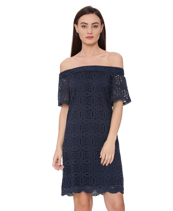 Navy Off Shoulder Lace Dress