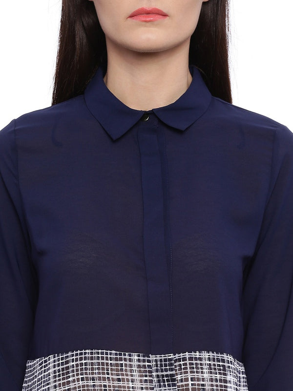 Navy Shirt Style Top
