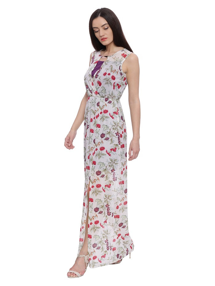 d97811301249 Off white Floral Print Maxi Dress | Avirate Fashions