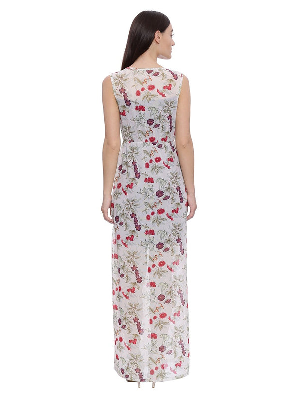 Off white Floral Print Maxi Dress